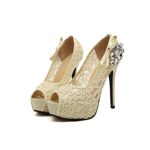 Buy Fashion Women Pumps Peep Toe Stiletto Platform Lace Rhinestone Elegant High Heels Beige/Pink