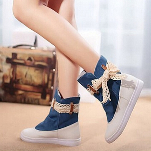 Buy Fashion Women Flat Boots Lace Knot Denim Patchwork Slip Round Toe Casual Bootie Shoes Blue/ Dark Blue