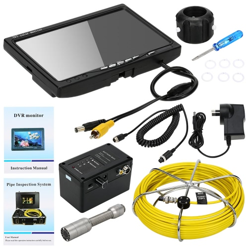Buy KKMOON HD 1200TVL Snake Pipe Inspection System 7u201d LCD Monitor + 20M Camera 4G SD Card 4000mah Battery Box Portable Alloy Case support Record Photograph Level Indication Waterproof Adjustable LED Intensity Night View Video Output Plug Play Wall Sewer Tube Inspect