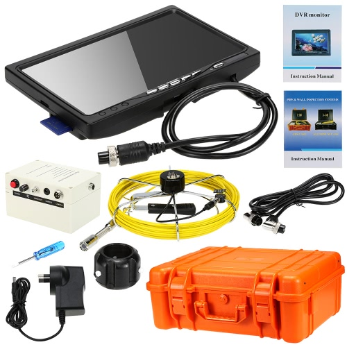 Buy KKMOON HD 1200TVL Snake Pipe Inspection System 7u201d LCD Monitor + 20M Camera 4G SD Card 4000mah Battery Box Portable Case support Video Record Photograph Waterproof Night View AV Output Plug Play Wall Sewer Tube Inspect