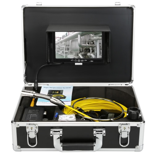 Buy KKmoonu00ae HD Snake Pipe Inspection System 7u201d LCD Monitor + 20M 1200TVL Camera 4000mah Battery Box Portable Alloy Case support Level Indication Waterproof Adjustable LED Intensity Night View Video Output Plug Play Wall Sewer Tube Inspect