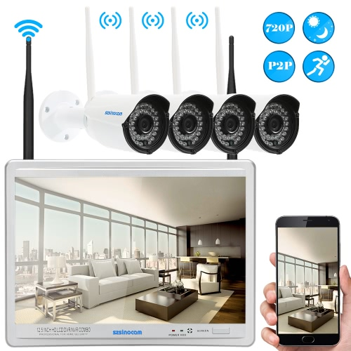 Buy Szsinocamu00ae 4 Channel 12.5u201d HD 720P WiFi NVR Network Video Recorder + Megapixels Wireless Weatherproof Outdoor Bullet IP Camera support Plug Play IR-CUT Filter Infrared Night View Phone APP Remote Playback Digital Zoom Motion Detection CCTV Security Surveillance System
