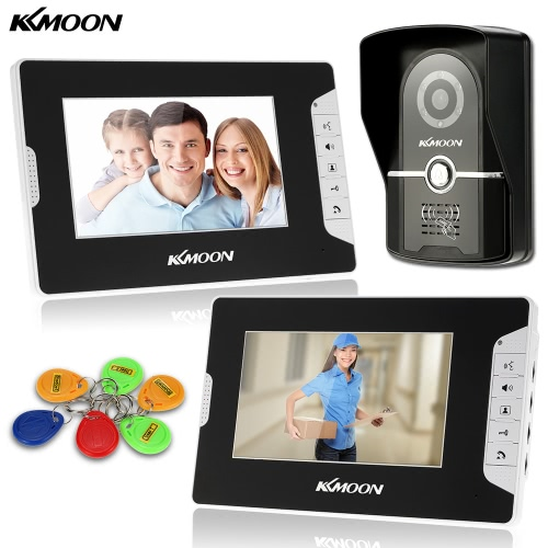 "KKmoon 7"" Wired Video Door Phone System Visual Intercom Doorbell with 2*800x480 Indoor Monitor + 1*700TVL Outdoor Camera + 6*RFID Card support ID Card Unlock Infrared Night View Rainproof Lock Time Delay Adjustable View Angels for Home Surveillance от Tomtop.com INT"