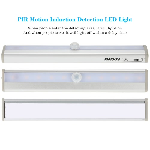 KKmoon  10 LED Auto Human PIR Motion Induction Detector Light Bar Wireless Cabinet Wardrobe Closet Sensor Wall Night Lamp Yellow Light