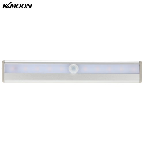 KKmoon  10 LED Auto PIR Human Motion Induction Detector Light Bar Wireless Cabinet Wardrobe Closet Sensor Wall Night Lamp Yellow Light