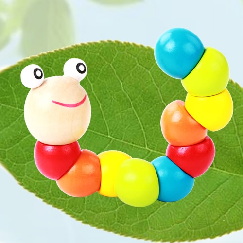 Buy Colorful Twist Caterpillars Baby Children Fingers Flexibility Training Twisting Worm Educational Wooden Toys
