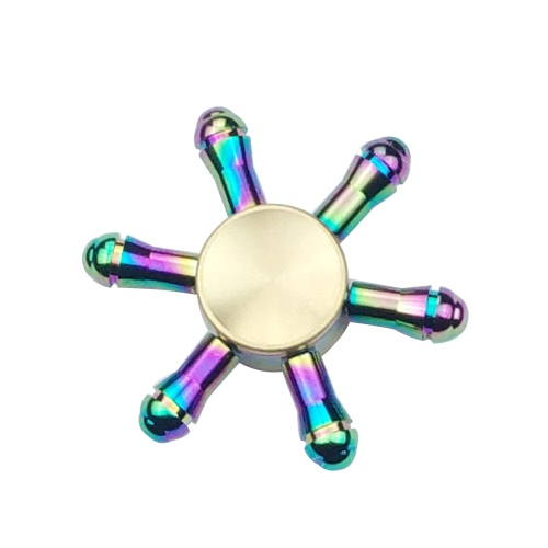 Buy 6 Arms Clubs Fidget Hand Finger Tri Stress Reducer Metal Spinner Widget Focus Desk Toy Fidgeters Anxiety Children Adults Gift