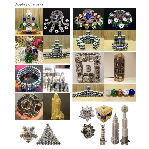 5 mm Round Magnetic Beats Magic Balls Spheres DIY Crafts Neodymium Iron Magnetic Puzzle Educational Toys 216 Pieces Set Silver