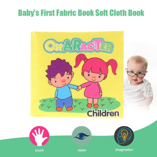 Coolplay Baby's First Non-Toxic Fabric Book Washable Soft Cloth Book Infant Toddler Kids Early Education Learning Toy