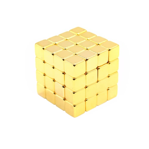 5 mm 64 Pieces NdFeB Magnets Magnetic Cube Magic Puzzle Educational Toy Gold