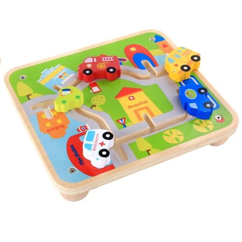 Buy Wooden Urban Rail Cartoon Building Blocks Toys Vehicle Track Cars Kids Early Educational