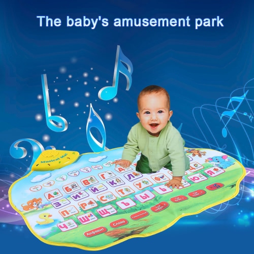 Buy Colorful Russian Alphabet Play Mat Musical Learning Flash Music Carpet Blanket Animal Sounds Touch Toy Baby Kids 73 * 49 CM