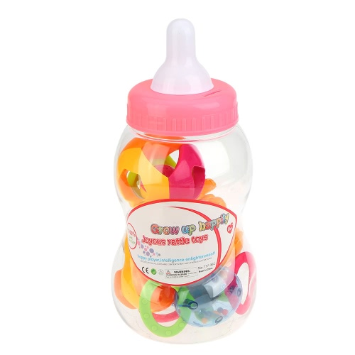 6 Pieces Fun Colorful Toy Play Set Baby Rattle And Teether Infant Teething Toys With Small Baby Bottle