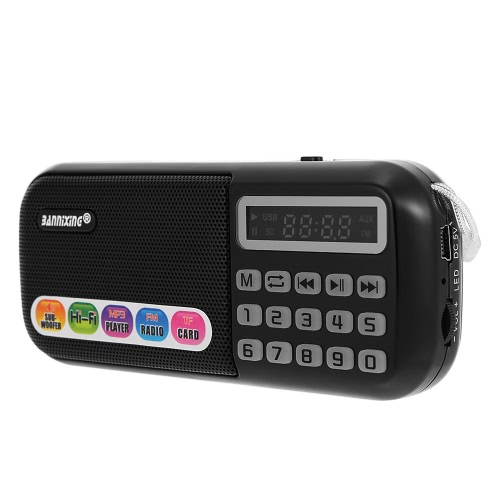 Buy BANNIXING B-898E FM Radio Speaker Audio Player Digital LED Display Support TF Card Music Play Stereo Black