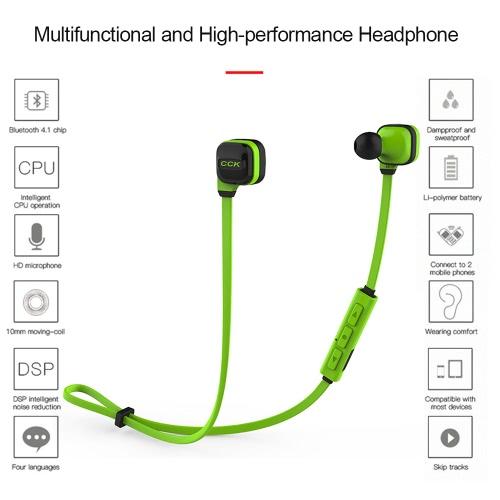 CCK KS Bluetooth 4.1 Headphones Wireless Stereo In-ear Sport Sweatproof Headsets Noise Cancelling Music Earphones -Green