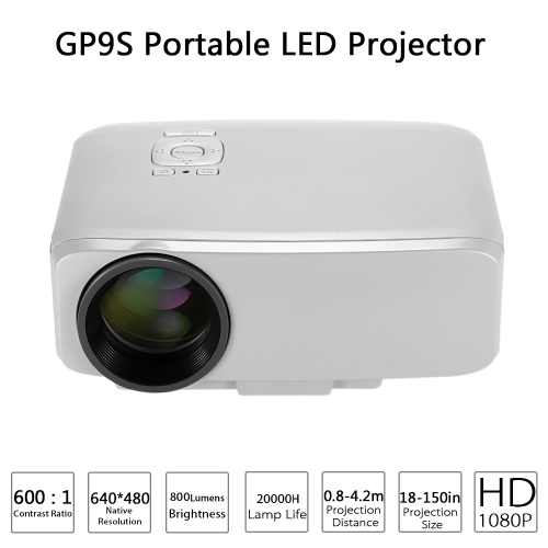 Buy GP9S Portable LED Projector 800 Lumens 640 * 480 HD 1080P VGA / TV SD AV -White US Plug1080P Input Multimedia Remote Controller White Plug