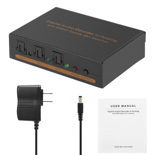 SPDIF/Toslink 3 * 1 Switcher Digital Audio Decoder One SPDIF/Toslink Output L/R Analog Audio Output Headphone Output US Plug от Tomtop.com INT