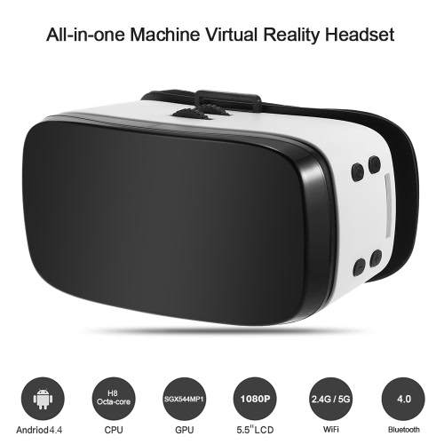 H8 All-in-one Machine Virtual Reality Headset 3D Glasses OS Nibiru Android 4.4 1080P 5.5Inch TFT Display Screen 60 fps 360��Panorama Immersive Games 2.4G & 5G WiFi Bluetooth 4.0 with USB port TF Card Slot  US Plug