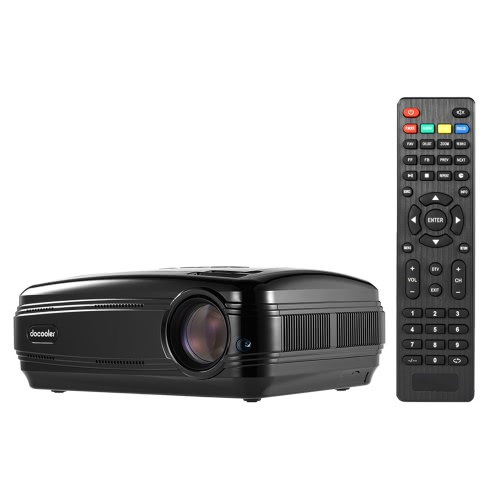 "Docooler BL-58 LED LCD Projector 1080P 3200 ANSI Lumens Max 200"" Home Theater Video Projector 1280 * 768 Pixel 3000:1 Contrast Ratio with HD IN VGA AV USB TV Remote Controller US Plug"