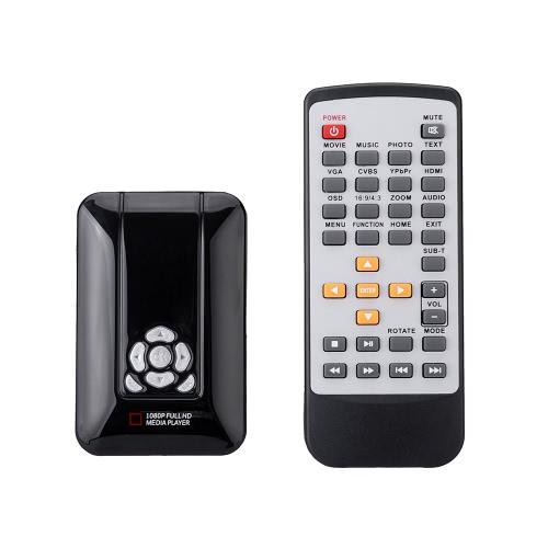 Buy Portable Mini Full 1080p HD Media Player MPEG / MKV/H.264/RMVB AV Port USB2.0 Host SD Card Reader Slot IR Remote Control HDTV