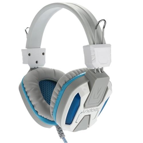 Buy Gaming LED Light Headphone Microphone Ear Stereo 3.5mm Headset-White
