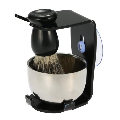 Buy 3 1 Men's Shaving Razor Set Dry Wet Badger Hair Brush Stand Holder Male Facial Clean Tools Beard Kit Soap Dish Bowl Blaireau