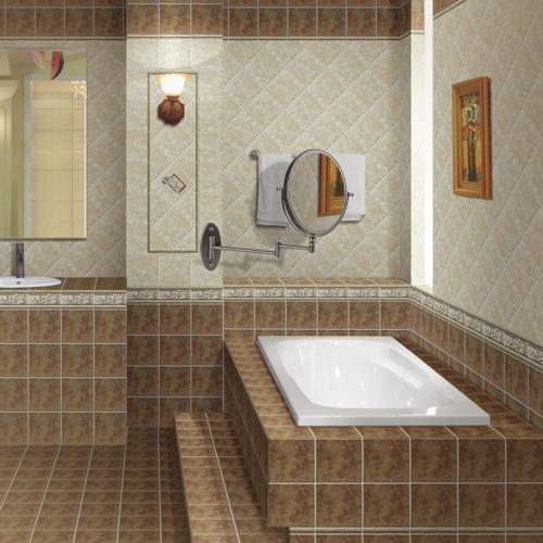 Ovale ellittica 7X Ingrandimento muro Bagno montato pieghevole elastico girevole doppio si raddoppia Hanging Sided trucco Rasatura