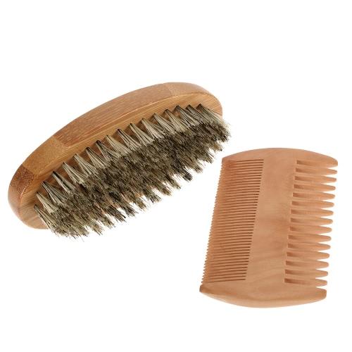 Men's Beard Brush & Comb Kit Boar Bristles Mustache Shaving Brush Bamboo Beard Comb Male Facial Hair Brush Set