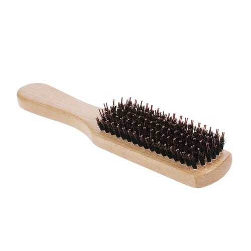 Boar Bristle Hair Beard Brush Comb Nylon Pin Mustache Brush Anti-static Scalp Massage Beech Wooden Handle