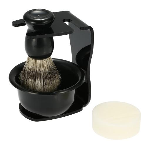 Buy 4 1 Men's Shaving Razor Set Dry Wet Badger Hair Brush + Stand Soap Bowl Holder Male Facial Clean Tools Beard Kit Dish Blaireau