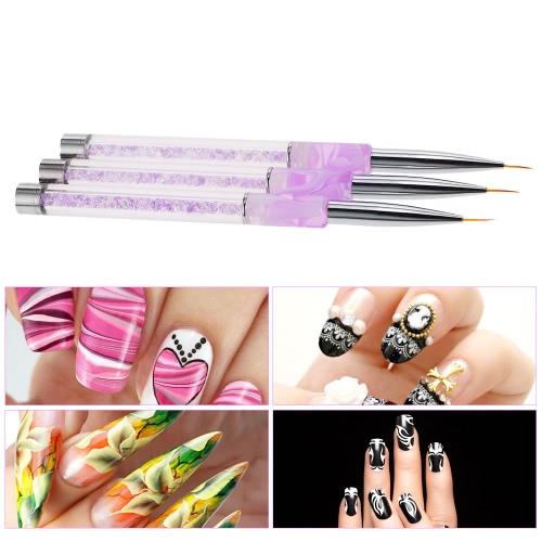 Buy Nail Art Painting Line Brush 7mm Acrylic Liner Draw Nylon Hair Manicure Pen
