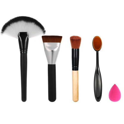 Buy Makeup Brushes Set Oral Brush Fan-shaped Foundation Oblique Head Blusher Waterdrop-shape Powder Puff Cosmetic Kit Facial Tools
