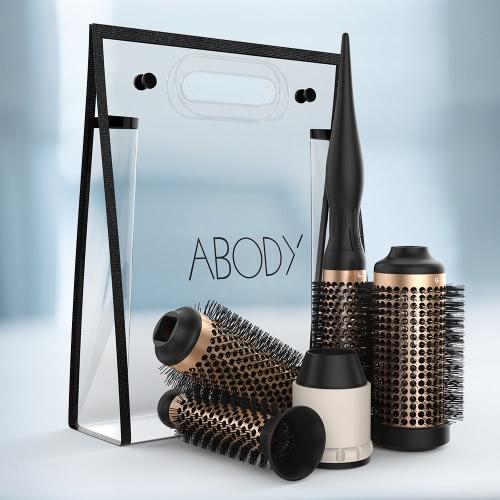 Abody Ceramic Hair Brush Set Detachable Hairbrush Aluminum Round Brush 4 Size Barrels  1 Handle Nylon Pins DIY Hairstyle Tool