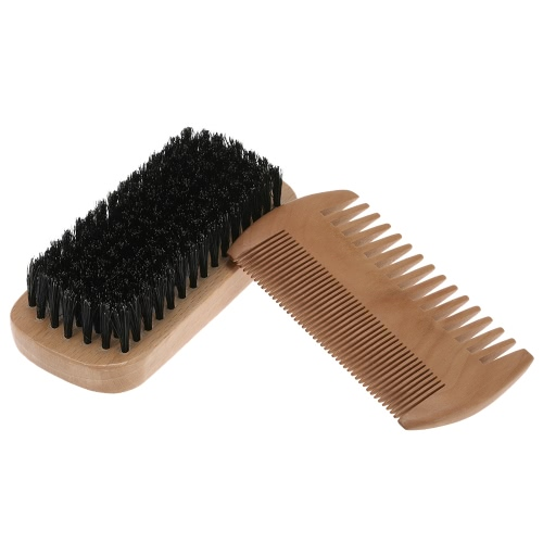 Buy Men's Beard Brush Mustache Comb Kit Male Bristles Shaving Wood Facial Hair Set