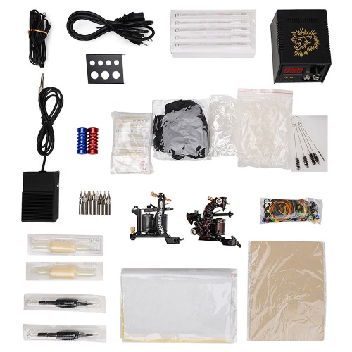 Buy Professional Tattoo Set Tattooing Beginner Kit 2 Machine Disposable Needle 60-250V US Plug