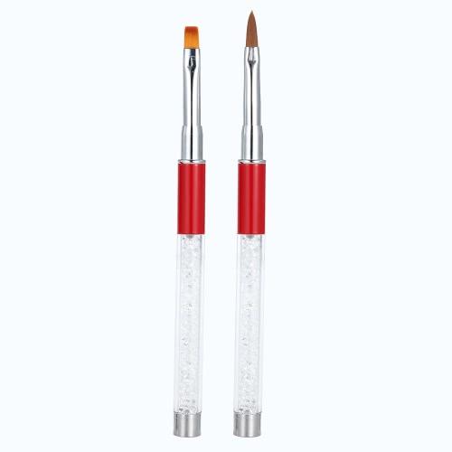 Buy Nail Art UV Gel Brush Painting Pen Crystal Sable Head Luxury Rhinestone Acrylic Handle Drawing Line DIY Tools