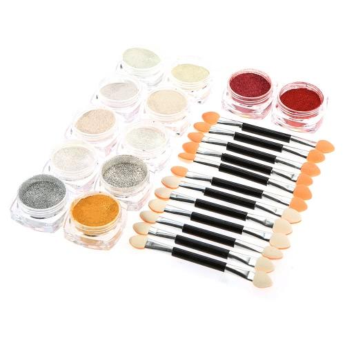 Buy Chrome Nail Powder 12 Colors Mirror Glitter Metallic Shinning Art Gel Decoration Tool