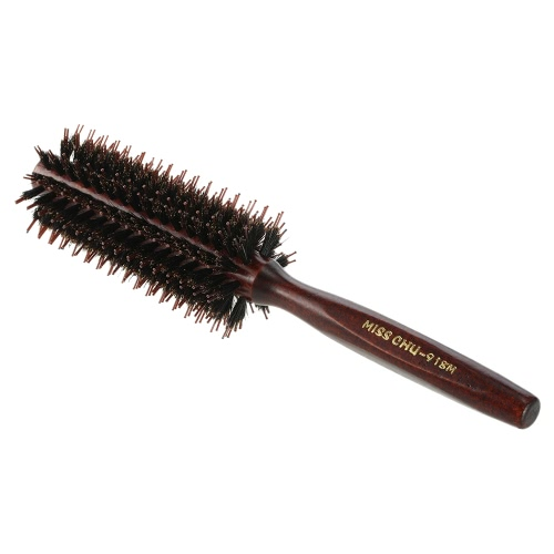 Miss Chu Bristle Round Comb Hair Roll Brush DIY Hair Curling Comb Women Hair Styling Comb Wood Handle Hairdressing Tool Brown