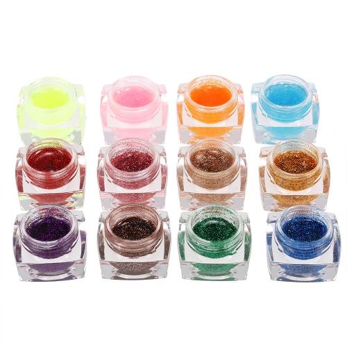 Buy 12 Colors Professional Glitter Powder UV Gel Nail Art Polish Extension Set Builder Varnish Decorations Tools