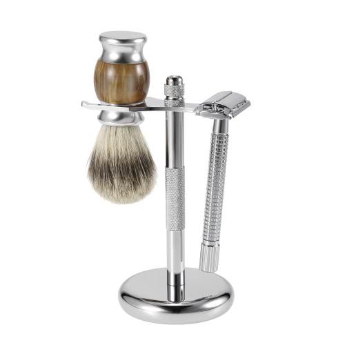 3 in 1 Men's Shaving Razor Set Pure Badger Shaving Brush + Alloy Shaving Stand + Double Edge Razor Male Facial Shaving & Cleaning Tool