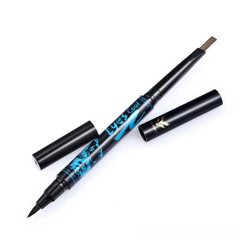 Buy Huamianli Double-end Eyebrow Pencil & Eyeliner Long-lasting Waterproof Enhancer Pen Eye Liner 5 Optional Colors