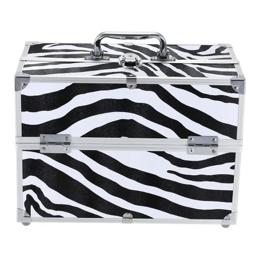 Buy Foldable Cosmetic Organizer Box Jewelry Make Case Lockable Stand Storage Zebra-stripe Bag Tools
