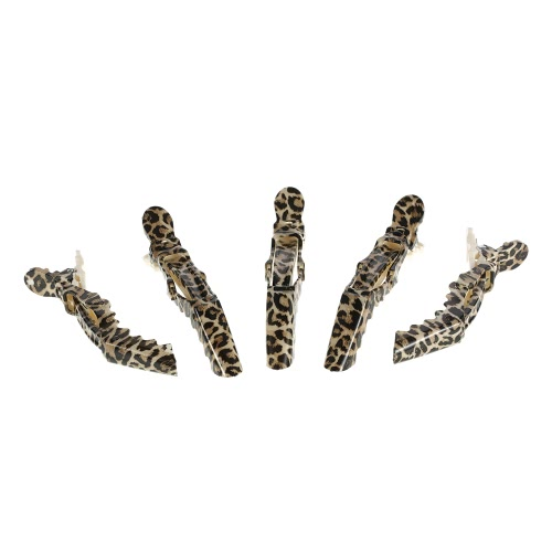 Anself 5Pcs Crocodile Hair Sectioning Grip Clips Croc Hair Clips Clamps Hairdressing Salon Clamps Leopard Plastic Hair Styling Tool
