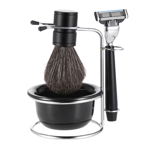 4 in 1 Men's Shaving Razor Set Badger Shaving Brush + Shaving Stand + Shaving Soap Bowl + Razor Male Facial Shaving & Cleaning Tool