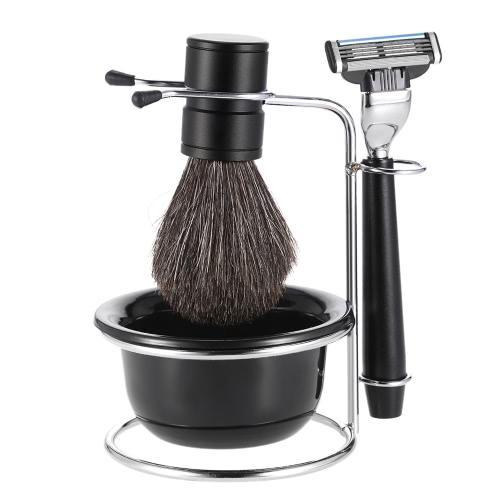 Buy 4 1 Men's Shaving Razor Set Badger Brush + Stand Soap Bowl Male Facial & Cleaning Tool