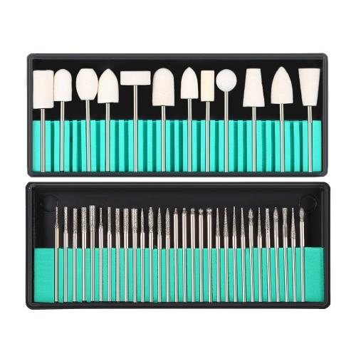 Buy 3Nail Drill Bits + 1Wool Nail Dill Kit 3/32'' Shank Art Machine Grinding Head Dead Skin File Polish Tool Salon