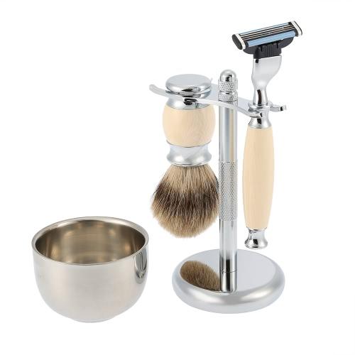 Buy 4 1 Men's Shaving Razor Set Pure Badger Brush + Stand Stainless Steel Soap Bowl Dry Wet Facial Clean Shaver Tool