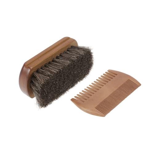 Buy Men's Beard Brush & Comb Kit Horse Hair Mustache Shaving Golden Sandalwood Male Facial Set