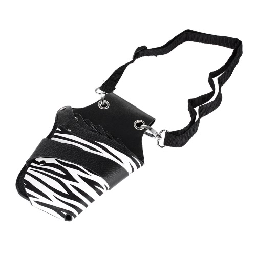 Buy PU Leather Hair Scissor Holster Hairdressing Pouch Holder Bag Stylist Rivet Clips Waist Shoulder Belt
