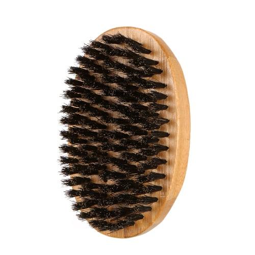 Men's Boar Bristle Beard Brush Mustache Shaving Brush Facial Hair Brush Bamboo Military Round